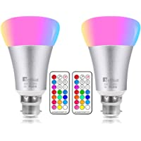 NetBoat Colour Changing Led Light Bulb 10W, RGBW Colour Bulbs Dimmable with Remote Control, RGB Bayonet Light Bulb, Updated Pure Daylight White 6500K, Disco Party Home Mood Lighting,Pack of 2
