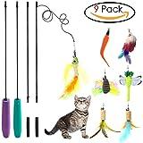 SunnySunnie Cat Toys Interactive, Feather, Teaser Wand Set ,Bird Butterfly Dragonfly Worm Mouse Catcher For Kitten Catnip, 9 Refills