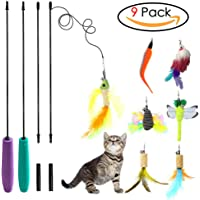 YINVA 9 Refills Cat Toys Interactive, Cat Toy Wand, Cat Feather Toy,Teaser Wand Toy Set,Bird Butterfly Dragonfly Worm Mouse Catcher for Cats Kitten Catnip