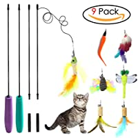 Sunnysunnie 9 Refills Cat feather toy Catnip Toys Interactive Train Best Teaser Mouse Butterfly Bird Dragonfly Catcher for Indoor Cats Kitten