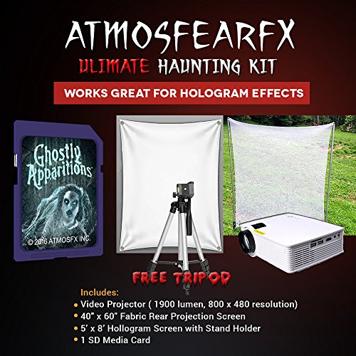 Amosfearfx Ghostly Appartions Video Ultimate Projector Bundle.Includes Projector, SD Media Card, Translucent Window Screen And Hologram Screen Stand Kit. -
