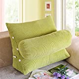 Vercart Sofa Bed Large Upholstered Headboard Filled Triangular Wedge Cushion Bed Backrest Positioning Support Pillow Reading Pillow Office Lumbar Pad with Removable Cover Green 24x20x10 Inches