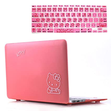best website 737fd 60148 Rinbers 2in1 Bundle Soft-Touch Plastic PINK Hello Kitty Rubberized Hard  Shell Case Print Frosted for MacBook Air 11 Inch A1370 A1465
