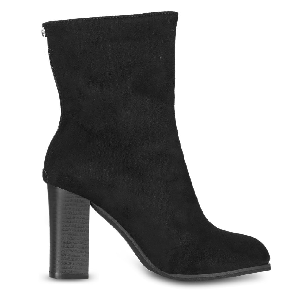 EbuyChX Female Autumn Fashion Pointed Toe Chunky Heel Solid Color Mid-Calf Boo