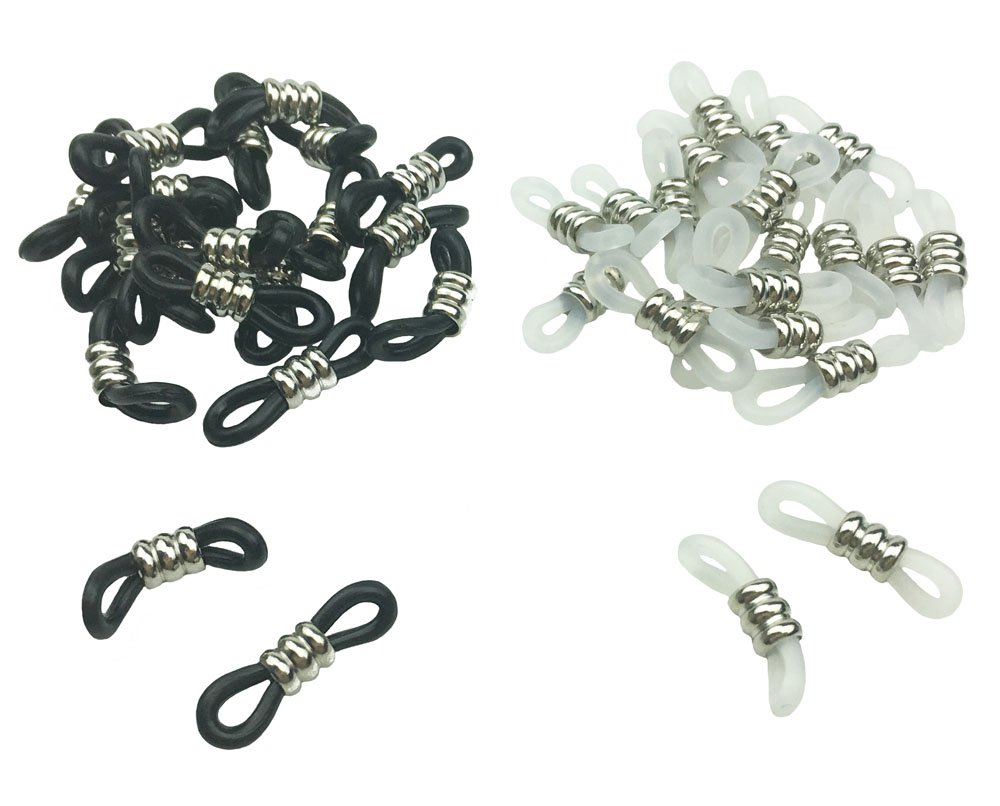 Hyamass 40pcs Silver Coated Cylinder Copper Bead Black and Translucent White Anti-slip Rubber Ends Retainer Connector Holder for Eyeglass Chain Necklace Chain