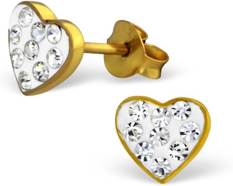 Par de plata de ley pequeño amor corazón Stud Pendientes con chapado en oro y claro cristal piedras preciosas (8mm x 7mm)