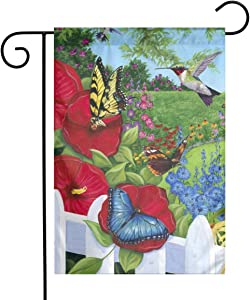 COWDIY Outdoor Garden Welcome Flag, Hummingbird Butterfly Flower Double Sided Colorful Design Seasonal Yard Flag for Farmhouse Yard Holidays Balcony 12.5 X 18 Inch Easy to Install