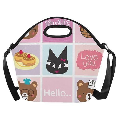 78d17042007e Amazon.com: InterestPrint Large Lunch Bags Cartoon Doodle Lunch Bag ...