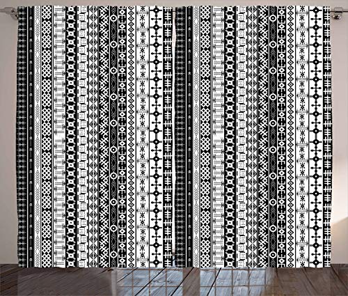 Ambesonne Primitive Curtains, Black and White Tribal Motifs Pattern Native Artistic Geometric Borders Design, Living Room Bedroom Window Drapes 2 Panel Set, 108 W X 108 L Inches, Black White