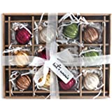 Antiqued Rustic Rounds 2 Inch Boxed Set of 12 Glass Christmas Ball Ornaments