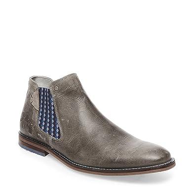 Steve Madden Men's Kingston Grey Leather Bootie Casual ...