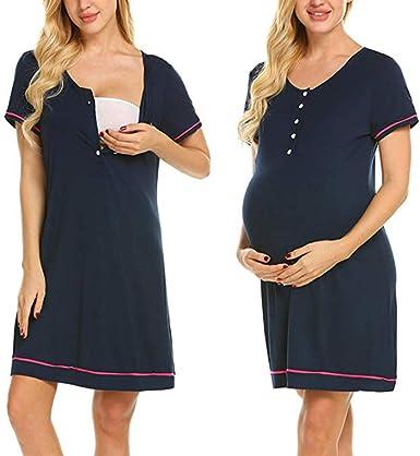 Piyamas de Algodón para Mujer Embarazadas, Camisón para Dormir, Multifuncional, Vestido para Maternidad Enfermería Entrega Lactancia Vestido de Noche Camisón Ropa de Casual Casa (L, Marina): Amazon.es: Ropa y accesorios