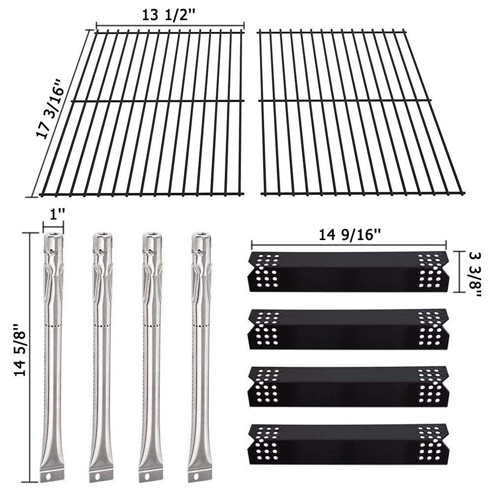 SHINESTAR Grill Replacement Parts for Grill Master 720 0697, Nexgrill 720-0697, Porcelain Steel Heat Tent Shield Plate Flame Tamer Burner Cover, Grill Grate Cooking Grid & Stainless Steel Burner Tube