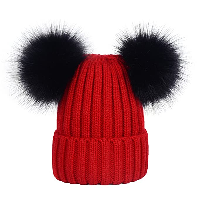 e964378bf07 DELORESDKX Women s Winter Beanie Hat Knitted Faux Fur Double Pom Pom Beanie  Hat Pompom Ears (