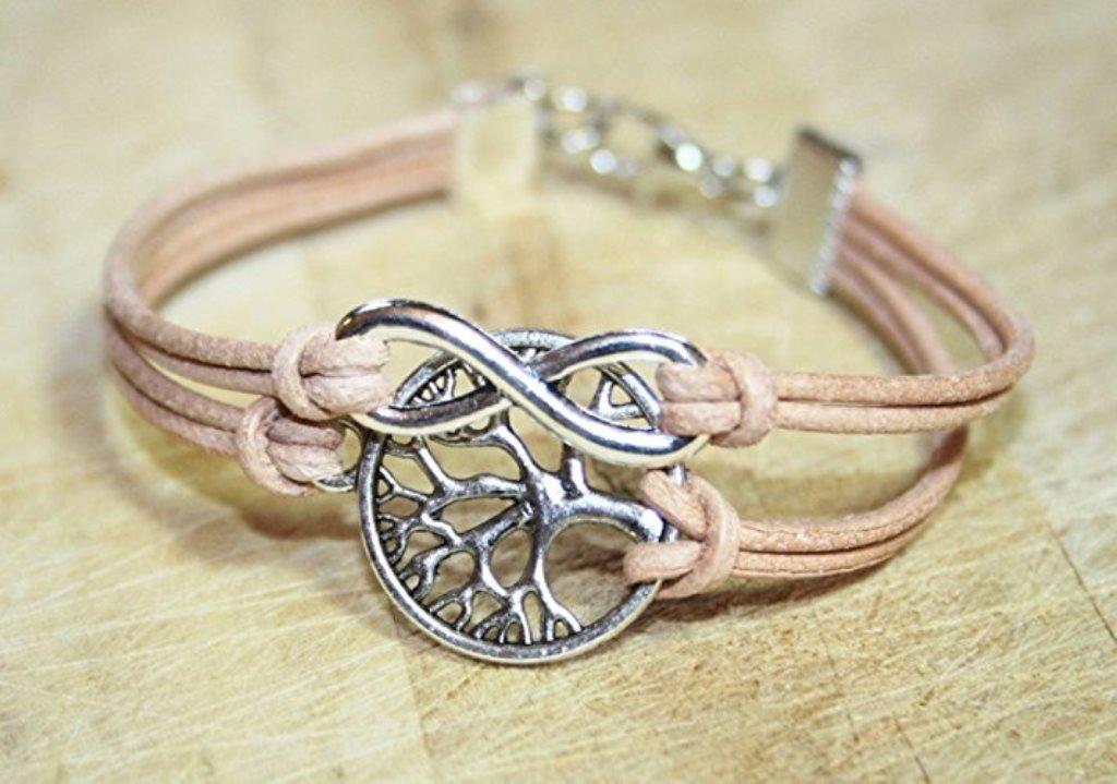 16-17cm handmade Infinity und Lebensbaum Freundschafts Lederarmband natur-rosa//silber