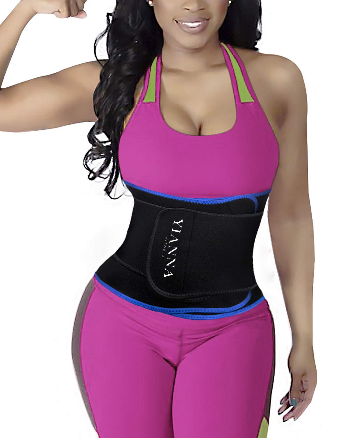 YIANNA Waist Trainer Slimming Body Shaper Belt - Sport Girdle Waist Eraser Trimmer Compression Belly Weight Loss Fitness Tummy Control, YA8010-Blue-S