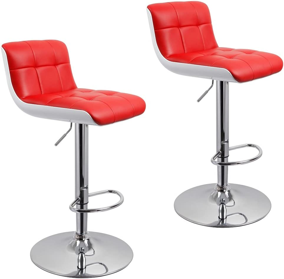 Duhome Bar Stools Adjustable Swivel PU Leather and Plastic Barstools Kitchen Height Bar Chair Set of 2 Red White