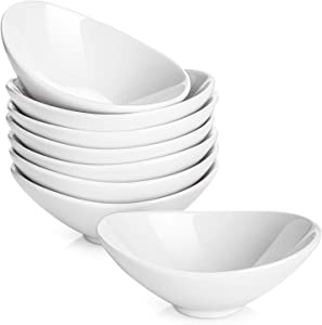 DOWAN Sauce Serving Bowls, 3 Oz Porcelain Gravy Boat White Dip/Dipping Bowls - Set of 8, Soy Sauce Dishes for Thanksgiving and Christmas