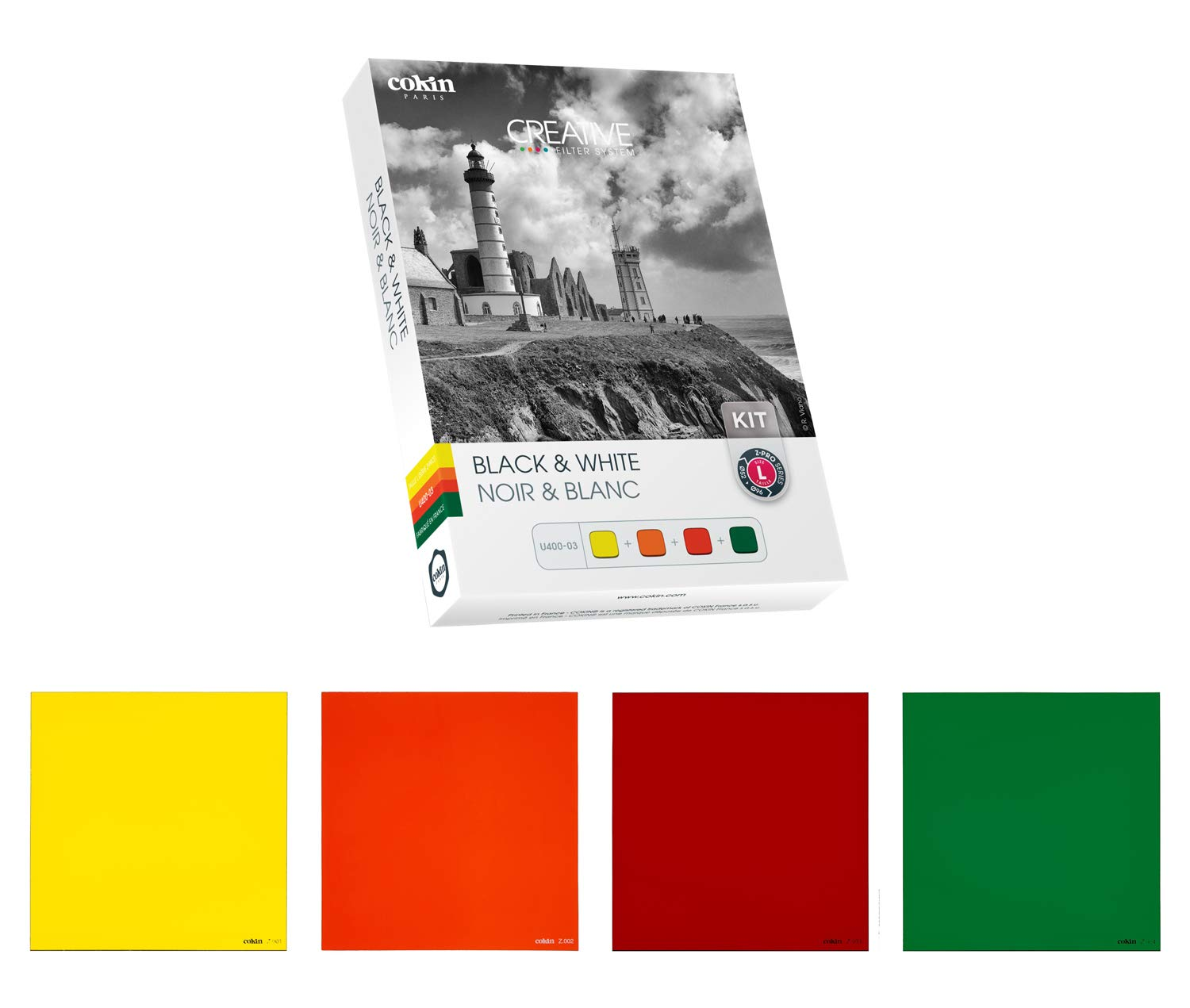 Cokin Square Filter U400-03 Black & White Creative Kit - Includes Yellow (001), Orange (002), Red (003), Green (004) for L (Z) Series Holder - 100mm X 100mm by Cokin