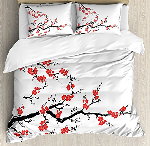 Japanese Duvet Cover Set King Size by Ambesonne, Simplistic Cherry Blossom Tree Asian Botanic Themed Pattern Fresh Organic Lines Art, Decorative 3 Piece Bedding Set with 2 Pillow Shams, Red (Asian Cherry Bed)