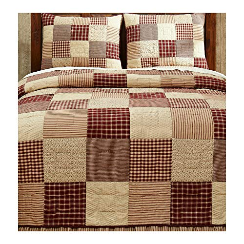 Cheston Patchwork Block King Quilt and 2 Luxury Shams Primitive Country Burgundy