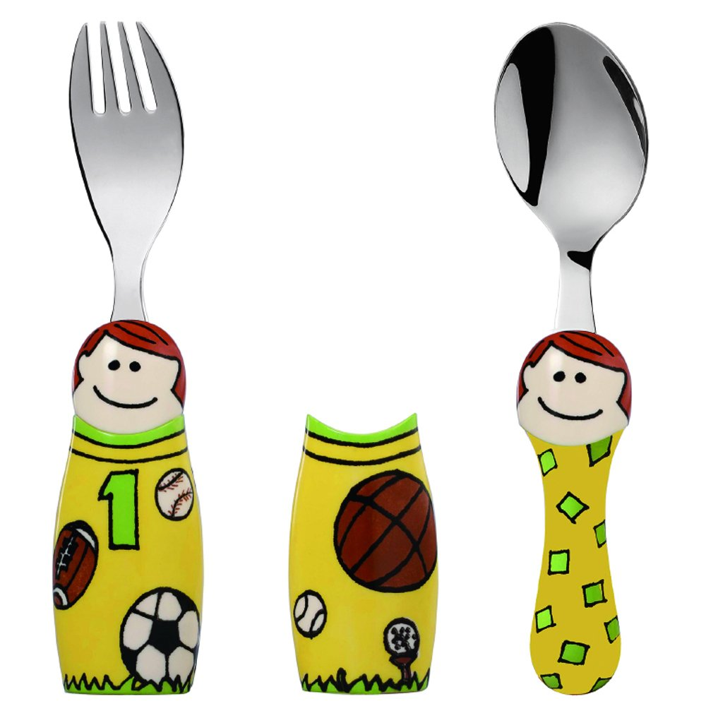 Eat4Fun Duo Collection Kids Fork & Spoon, Sports Boy