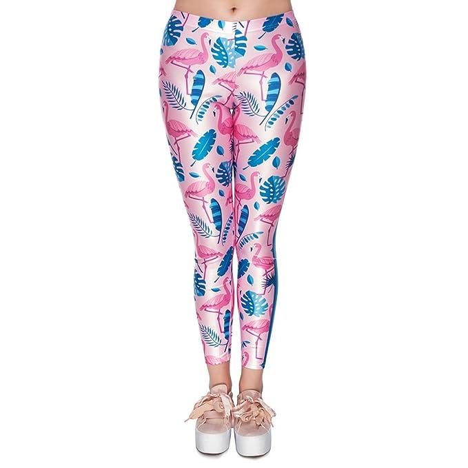 ... Cintura Alta Fitness Yoga Deporte Pantalones 3D Colorido Flamencos  Impreso Estiramiento Nueve Puntos Polainas 33ea392d55c