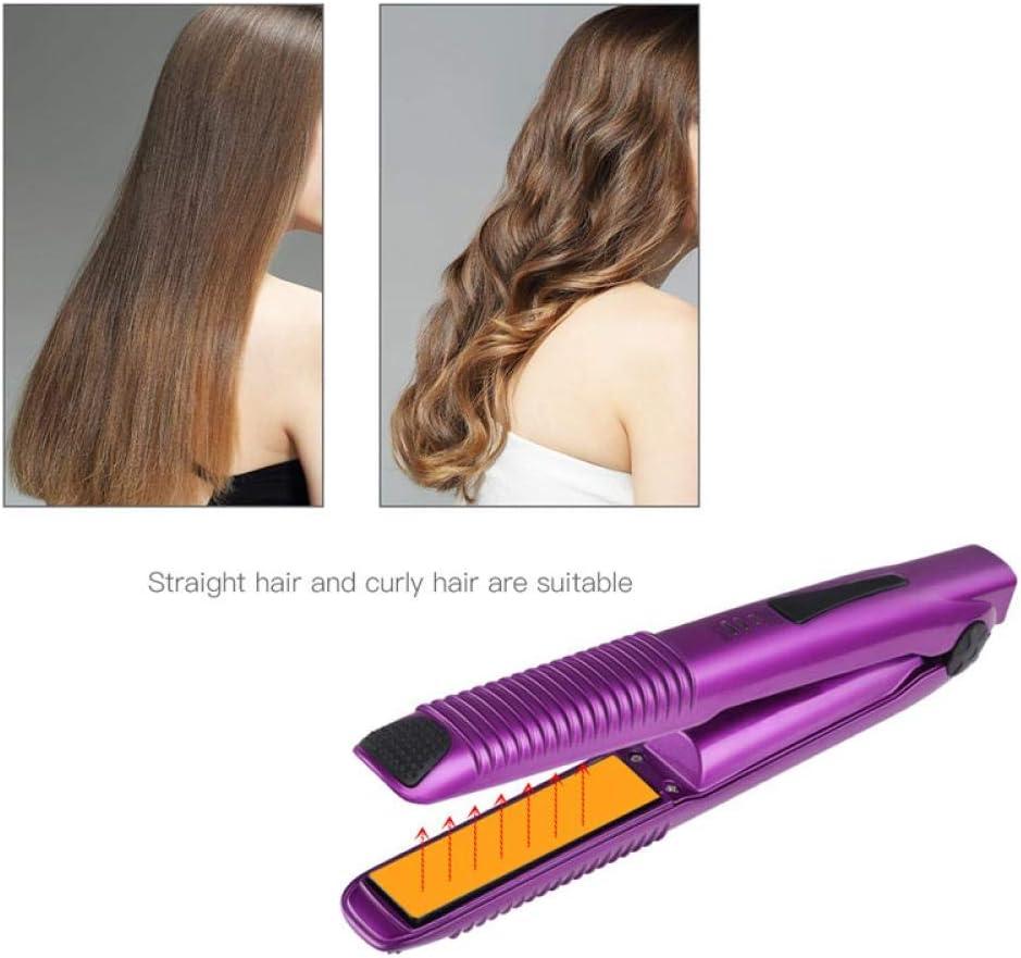 Portable Hair Straightener Wireless Curler 2 In 1 Usb Rechargeable Hair Straightening Curling Flat Iron Hair Styling Tool Purple PURPLE Ytx3r