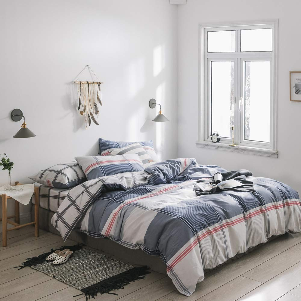 Reversible Plaid Cotton Duvet Cover Set Queen Modern Luxury Grid Checkered Bedding Set Full Lightweight Soft Hotel Comforter Cover Set