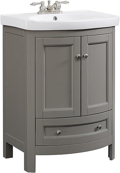 RunFine RFVA0069G 24 inch Wide All Wood Modern Gray Vanity