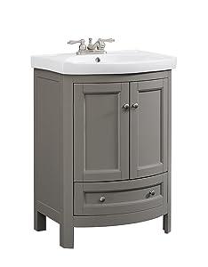 Runfine RFVA0069G 24.6 Inch Wide All Wood Modern Vanity With Vitreous China Top, Gray