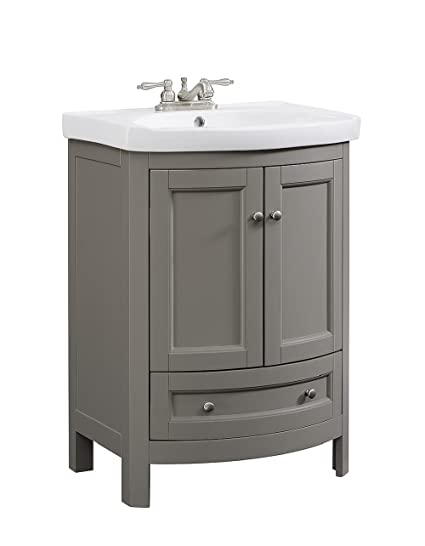 Runfine Rfva0069g 24 Inch Wide All Wood Modern Gray Vanity With Vitreous China Top 2 Doors And 1 Slow Close Arch Drawer