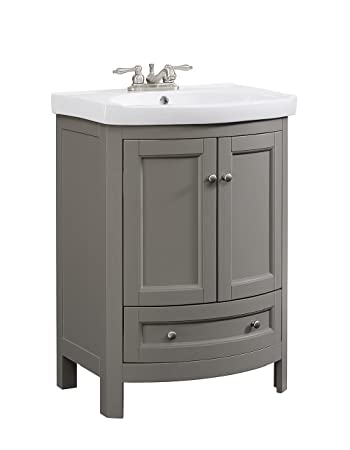 Runfine RFVA0069G 24 6 Inch Wide All Wood Modern Vanity With Vitreous China  Top  Gray. Runfine RFVA0069G 24 6 Inch Wide All Wood Modern Vanity With