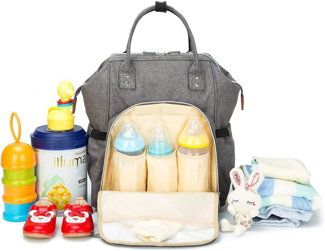 Gran Capacidad Fondo Impermeable Mochila Maternidad Portatil con Bolsillo T/érmico para Biberones Bolsa para Carrito de Beb/é Wemk Mochilas de Pa/ñales y Biberones Gris