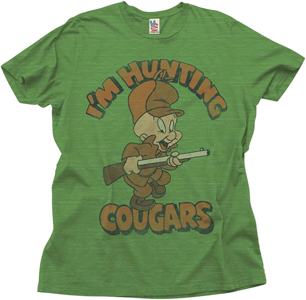 Junk Food Looney Tunes I'm Hunting Cougars Adult Green T-Shirt