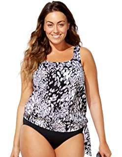 1ab10216b8d Swimsuits for All Women s Plus Size Side Tie Blouson Tankini Top at ...