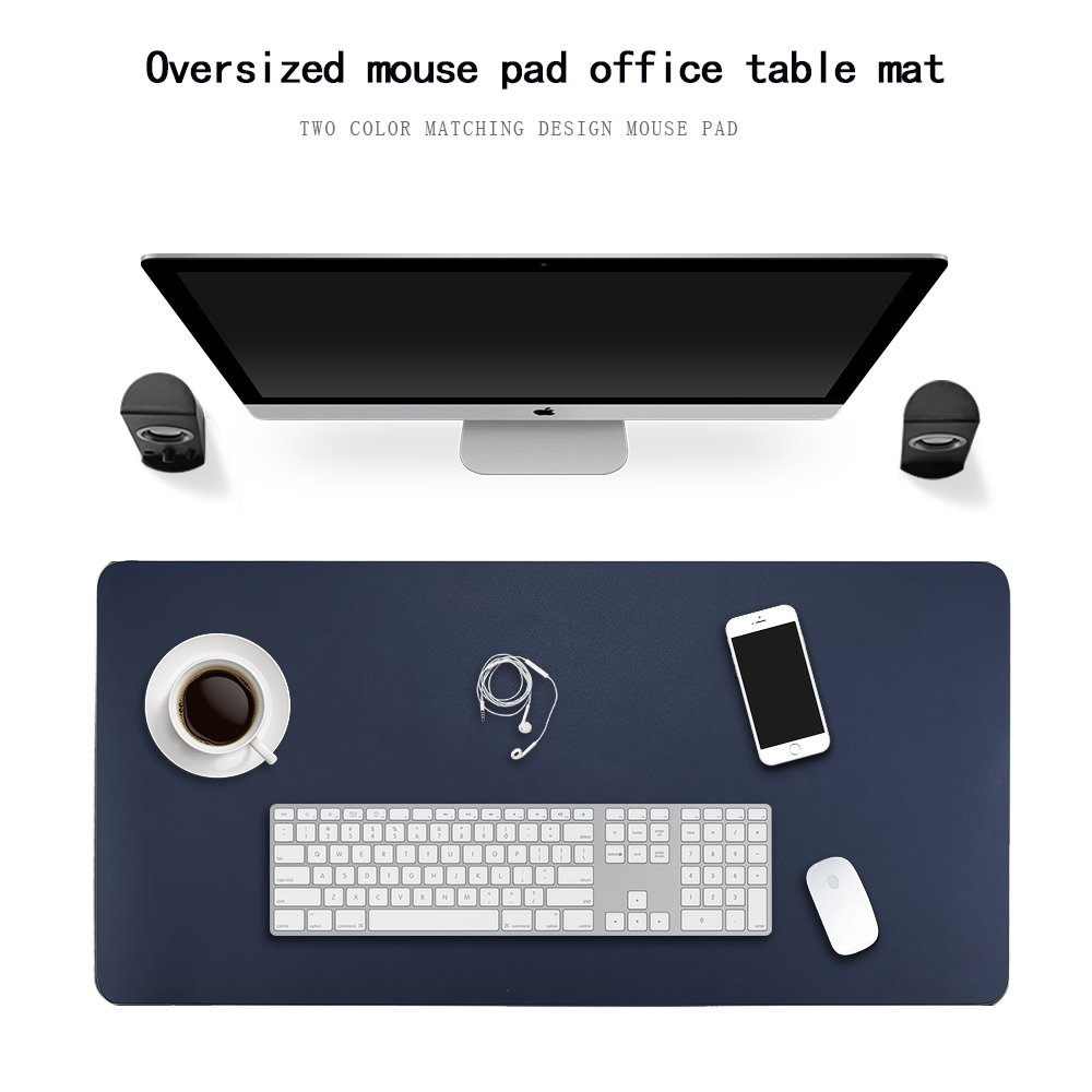 HTDirect Extended PU Leather Office Desk Pad Protector Waterproof with Smooth Surface Middle Small //Middle //Large Size Perfect Desk Writing Mat for Office and Home , Blue /& Yellow 90*45cm