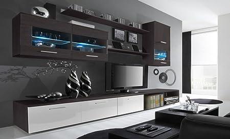 SelectionHome - Salón Moderno, Comedor con Luces Leds, Acabado en Blanco Brillo y Wengué, Medidas: 250x190x42 cm de Fondo