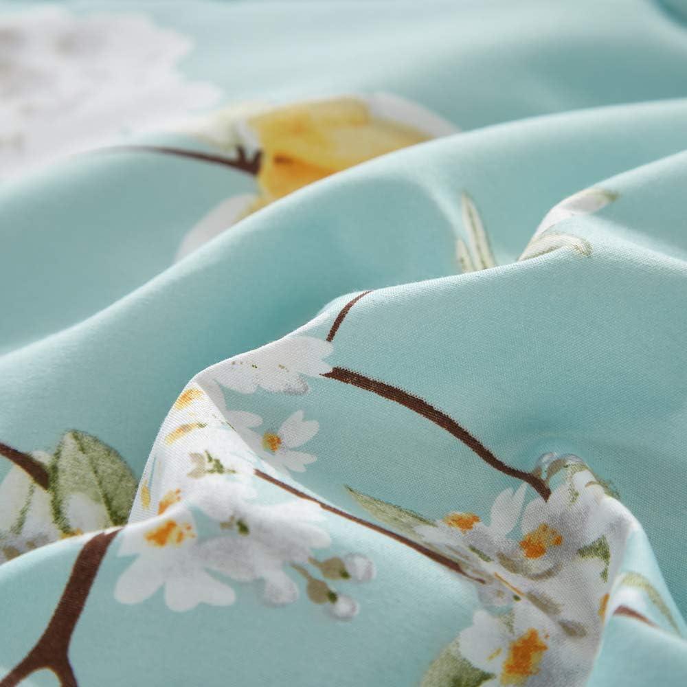 Joyreap 3pcs Floral Comforter Set, Soft Microfiber Comforter for All Season, Elegant White Flower Printed on Blue Reversible Design (King, 102x90 inches): Home & Kitchen
