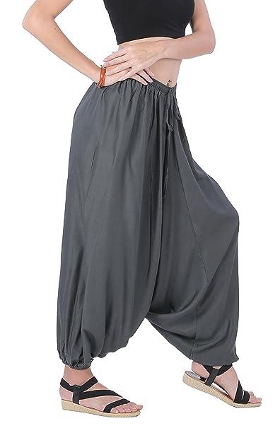 Men Women Rayon Baggy Yoga Harem Pants Plus Size (Dark Grey ...
