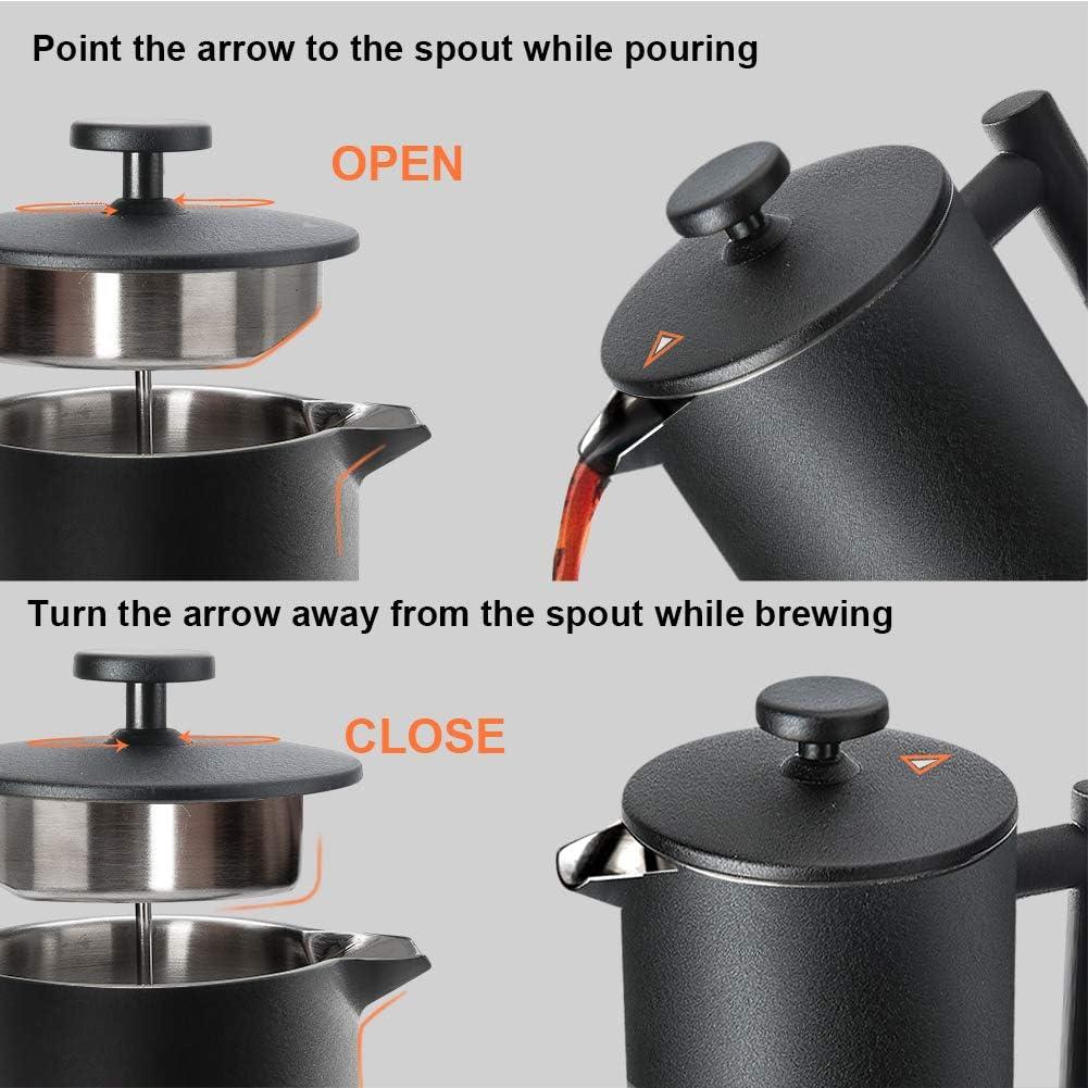 1000 ml Noir French Press avec 2 Filtres /à Caf/é Acier Inoxydable R/éutilisable 1 Litre Secura Cafeti/ère /à Piston