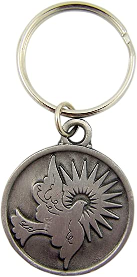 1 1//4 Inch Autom Confirmation Key Chains Silver Tone Come Holy Spirit