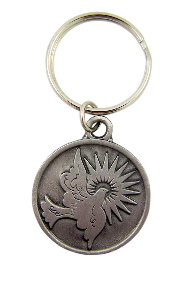 1 1//2 Inch Singer Co SK327 Fine Pewter Holy Dove Spirit Confirmation Key Chain