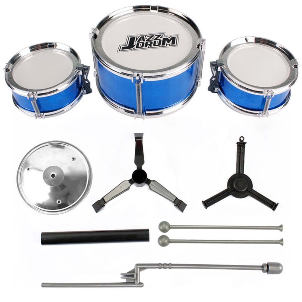 VHNVHN Set di Batteria per Bambini 3 Pezzi Kit di Batteria per Bambini Junior Percussioni