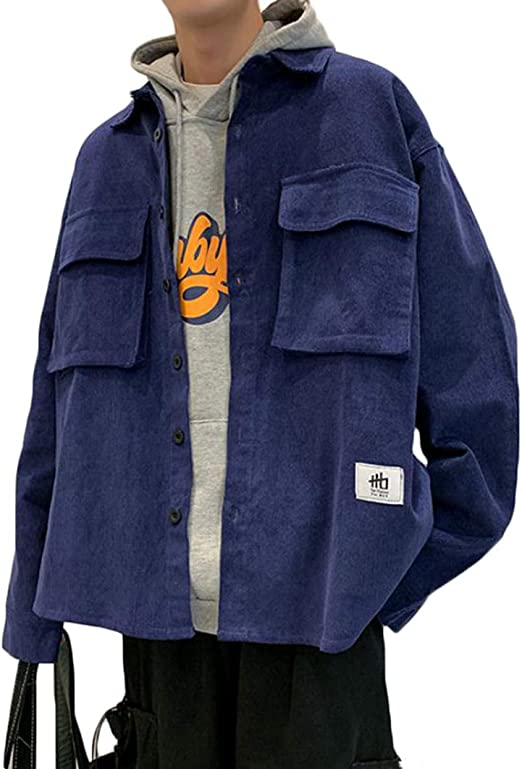 JQBFLジャケット メンズ コーデュロイ アウター 長袖 ゆったり コールテンシャツ カジュアル 無地 おしゃれ 秋服 大きいサイズ ストリート