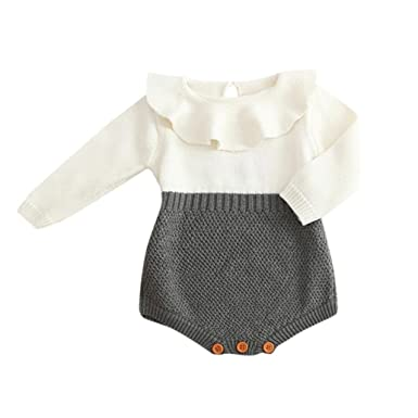 5c9e2a040 VENMO Winter Cute Baby Girls Romper Jumpsuit Ruffle O Neck Knitted ...