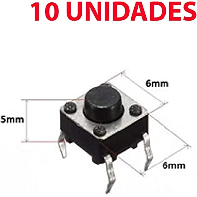 10x Micro Pulsador Interruptor SWITCH 6x6x5 mm PCB 4 PINES CORTOS.
