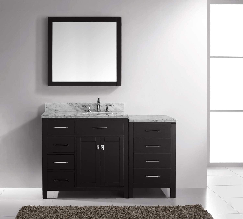 Virtu Usa Caroline Parkway 57 Inch Single Sink Bathroom Vanity Set In Espresso W Round Undermount Sink Italian Carrara White Marble Countertop No Faucet 1 Mirror Ms 2157l Wmro Es Vanity Sinks Amazon Com