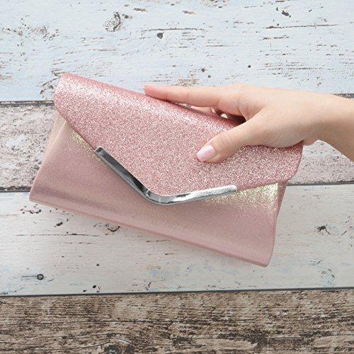 Vain Secrets Damen Handtasche Umhänge Tasche Clutch Abendtaschen in vielen Farben Rosa lG3EEX