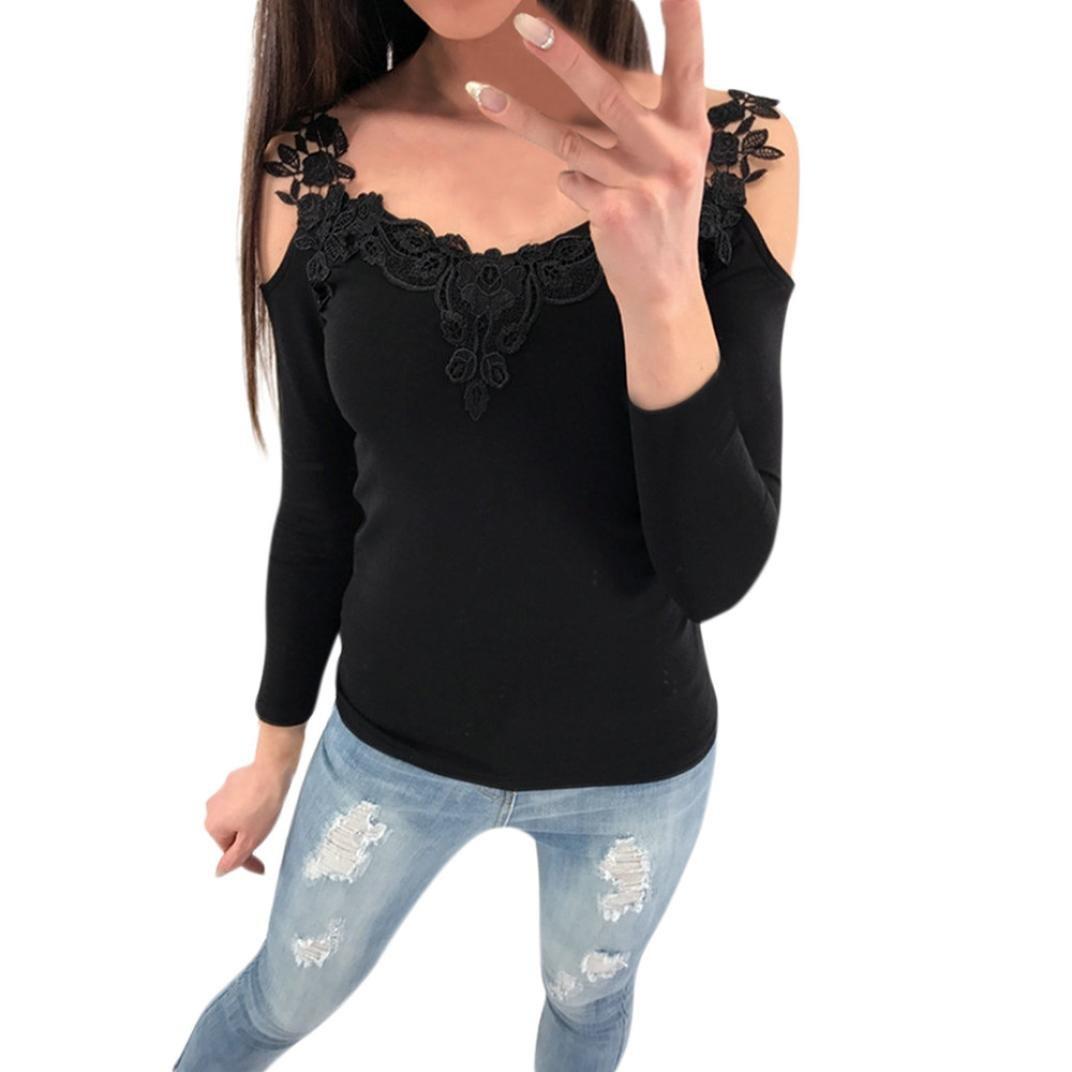 Homebaby Felpe Donna Vintage Off Spalla Felpe Donna - Pizzo Elegante Raccolto Maglietta Maniche Lunghe Donna Manica Lunga Felpa Pullover Top Camicetta Casual